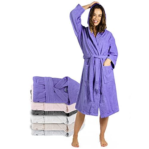 Twinzen Bademantel Damen - L - Lila - 100% Baumwolle (350g/m²) OEKO-TEX® Zertifiziert - Bademantel mit Kapuze, 2 Taschen, Gürtel