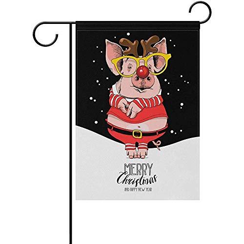 Tuinvlaggen Xmas Varken in Santa's Kostuum Dubbelzijdig Polyester Tuin Thuis Vlag Banner voor Party Home Outdoor Decor 32X45.7CM