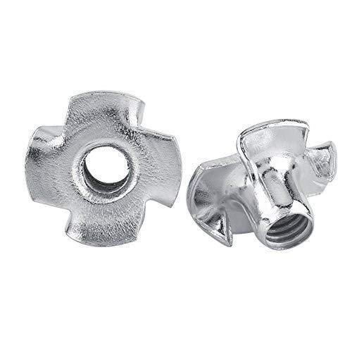 Tuerca en T Tuercas en T de cuatro puntas Tuercas de acero al carbono chapadas en zinc para muebles de carpintería M3 / M4 / M5 / M6 / M8 (M4-50pcs)