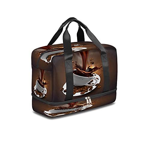 Bolsa de deporte para gimnasio con diseño de grano de café, bolsa de viaje ligera durante la noche con bolsillo húmedo y compartimento para zapatos, bolsa impermeable para hombres y mujeres