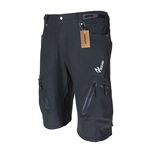 Lixada Men's Bicycle Shorts ,Breathable Mountain Bike Shorts Lightweight and Baggy MTB Shorts for Outdoor Cycling Running Gym Training (Black, M)