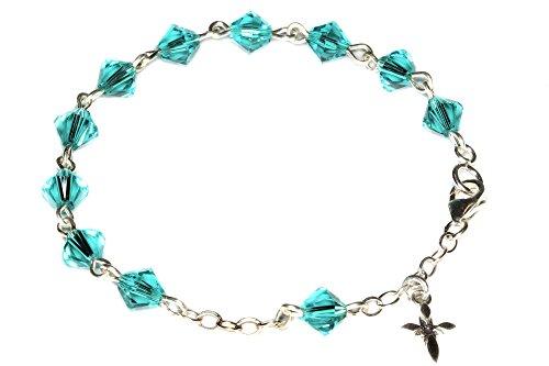 Girls Rosary Bracelet Made with Zircon Blue Swarovski Crystals - December (Communion, Reconciliation, Birthday & More)