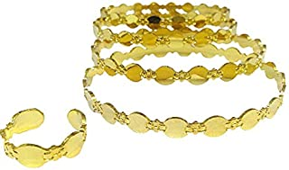 Modern Arabic 24k Gold-plated Dress Bangles Set 4x with matching Open Finger-ring