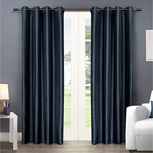 Exclusive Home Curtains Chatra Faux Silk Window Curtain Panel Pair with Grommet Top, 54x108, Indigo, 2 Count