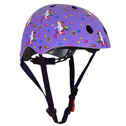 KIDDIMOTO Casco Bicicleta Completamente Ajustabl - Bici Casco para Infantil y Niños para Patinete, Ciclismo, Scooter, Bicicleta de Equilibrio y Monopatin - Unicornio - S (48-53cm)
