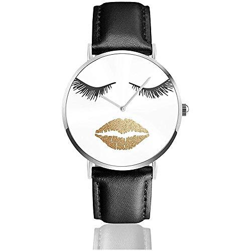 Concetto di bellezza del viso di Donna Ciglia e labbra rendono Immagine vettoriale Orologi da polso con cinturino in Pelle Casual Orologio da polso al quarzo Classico in Acciaio inossidabile