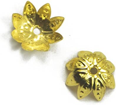 dailymall 50Pcs 10mm New Free Shipping Gold 25% OFF Plated Caps Metal Flower Bead