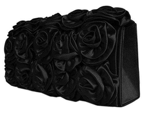 Diva Mode Damen Satin Abendtasche Brauttasche Blütenapplikation (Schwarz)