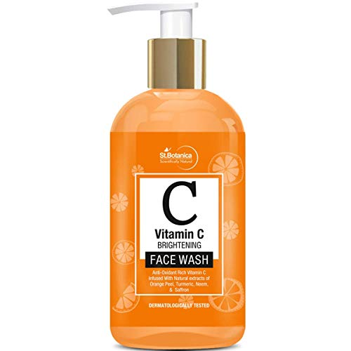 StBotanica Vitamin C Face Wash - With Lemon, Turmeric, Neem and Kashmiri Saffron - No Parabens, Sulphate, Silicones, 200 ml