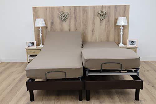 Couleur Prune Drap House pour lit articul/é 2x80x200 en Percale