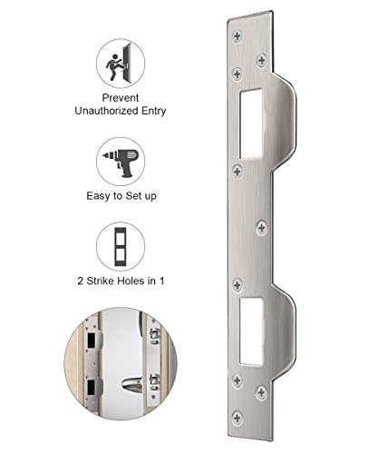 Door Security Plate, Door Reinforcement Plate, Dual Security Strike Plate, Door Security Devices with 5-1/2 inch to 6 inch Hole Spacing's On Latch and Deadbolt, Between Door Jamb and Door
