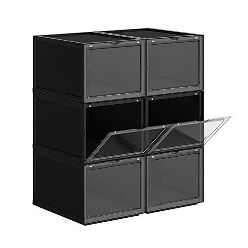 SONGMICS Cajas de Zapatos Apilables, Plástica, Rígida, Ahorro de Espacio, Fácil Montaje,28 x 36 x 22 cm, para Zapatos hasta la Talla 46, Juego de 6, Negro LSP06BK