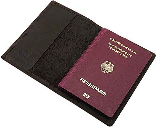 Büffelleder Reisepass Schutzhülle 2 Fächer in Braun