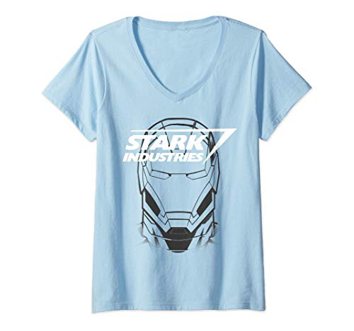 Donna Marvel Avengers Iron Man Stark Industries Maglietta con Collo a V