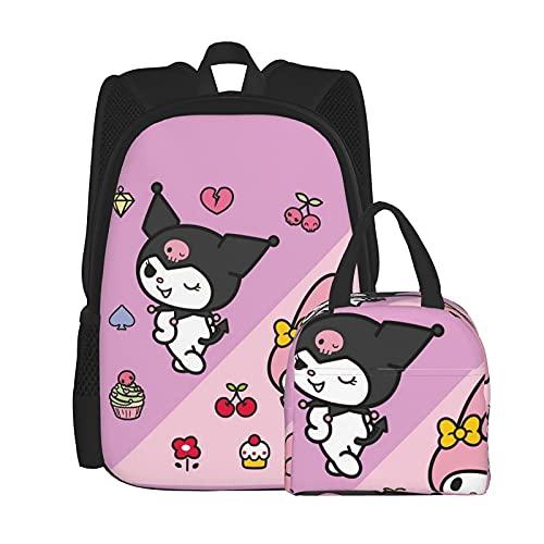 My Melody Kuromi Anime Mochila y bolsa de almuerzo con caja desmontable (tamaño único)