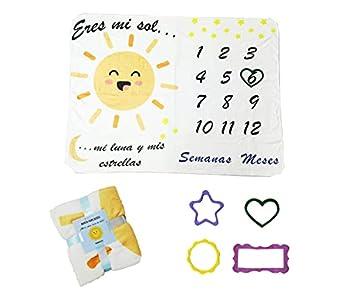 Manta Meses Bebé en Español | Modelo Unisex | Regalo De Fiesta De Nacimiento | Temática Luna | Suave y Gruesa | Manta para Fotos Mensuales, Manta mensual Bebe español (A)