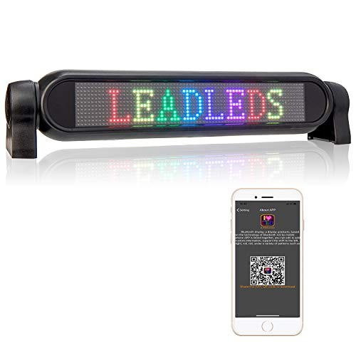 Leadleds 12V Full Color LED Car Message Sign Bluetooth Connected Smartphone Fast Programmable for Car Windows, Taxi, Store