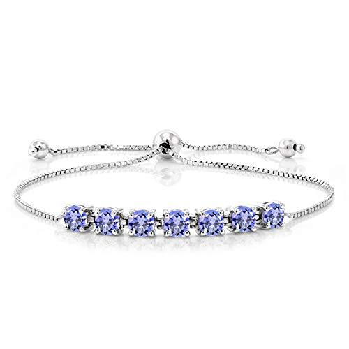 Gem Stone King 925 Sterling Silver Blue Tanzanite Adjustable Tennis Bracelet For Women 2.66 Cttw Round Cut