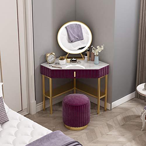 YAN QING SHOP Nordic Corner Schminktisch Moderne Minimalist Schlafzimmer Corner Corner Frisierkommode Kleine Wohnung Ins Dreieck Frisierkommode (Farbe : Lila)