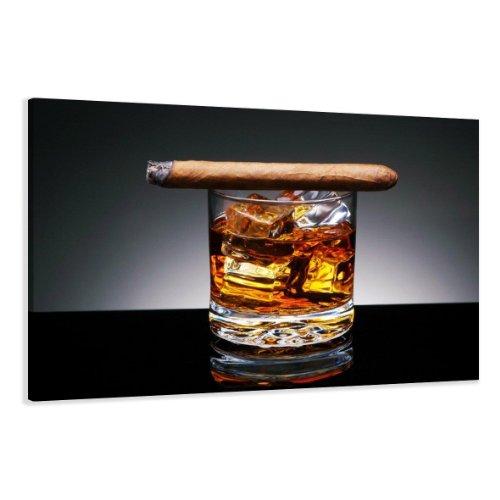 bestpricepictures 120 x 80 cm Bild auf Leinwand Zigarre Whiskey 5004-SCT deutsche Marke und Lager - Die Bilder/das Wandbild/der Kunstdruck ist fertig gerahmt