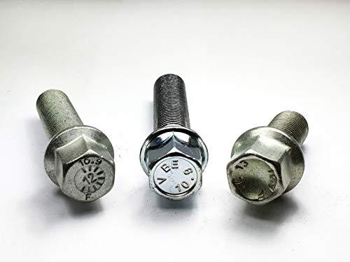 Levando 20 Stück Radschrauben M14x1,5 63mm Schaftlänge Kugelbund R12 D = 24mm SW17 – Radbolzen-Set mit Sonderschraube, Nicht passend bei Original-Felgen Farbe Silber