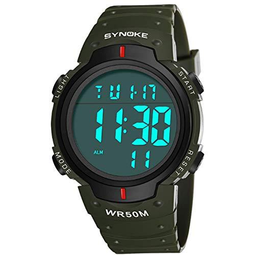 Rocita Hombres de la Moda Reloj Deportivo Digital LED de Pantalla Grande de la Cara Relojes Militares y Casual Impermeable Luminoso cronómetro Reloj de Lectura fácil para los Estudiantes 1Pc Verde