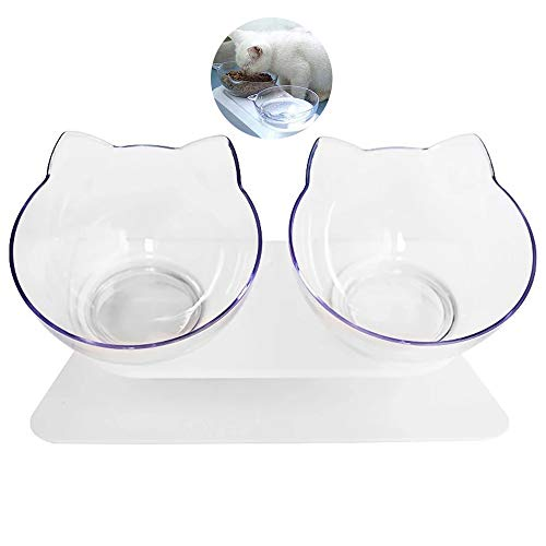 heummyo Futternapf Katze Katzenohrenförmiger Fressnapf, Abnehmbarer transparenter Rutschfester Schiefer Futtermittelhalter (Doppelte)