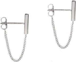 Minimalist Bar Earrings with Chain Dangle Earrings 925 Sterling Silver Stud Earrings