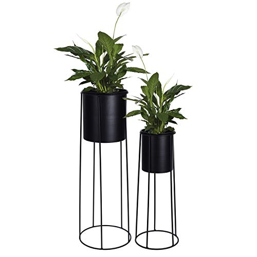 2tlg Blumentopfständer Set H65/45cm Schwarz Metallständer Blumentopfhalter Pflanzkasten