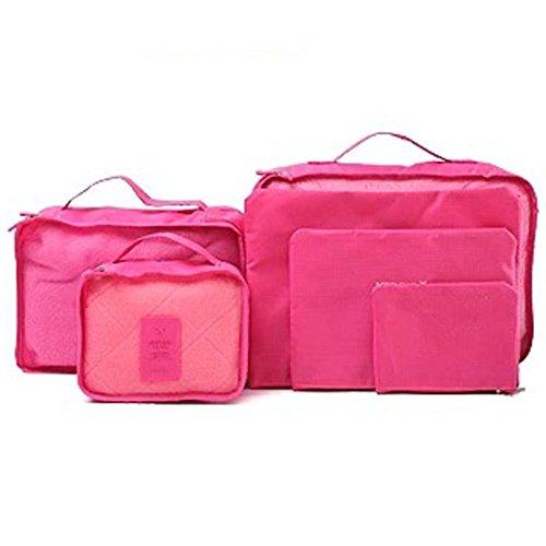 DELEY Voyage Kit Stockage De Vêtements Cosmétique Maquillage Toilette Sac Wash Bag Définir Rose Rouge