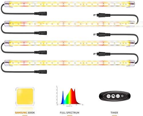 Led Pflanzenlampe Samsung&Full Spectrum 3500&Rote LED-Streifen mit Timer 3/6/12 Stunden Doppelkanal 4 Helligkeitsstufe führte pflanzenlicht für Zimmerpflanzen Gartenarbeit (84 LEDs)