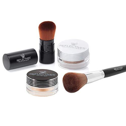 REFLECTIVES MINERAL SPECIAL SET incl. make up minerale con borsa Kabuki & stazione di finitura con pennello per cipria (Polvere minerale giallastro – leggero/FINISHER luccichio)