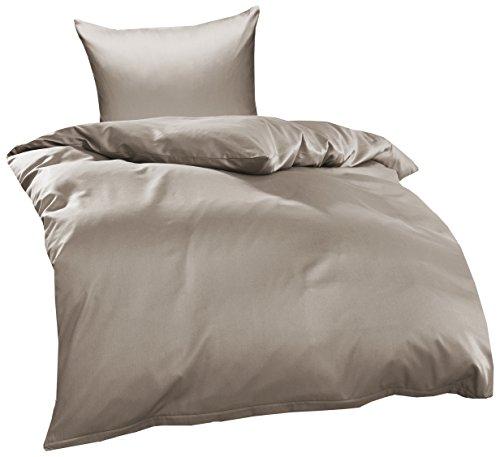 Bettwaesche-mit-Stil Mako Interlock Jersey Bettwäsche Garnitur Uni/enfarbig 100% Baumwolle 135x200 + 80x80 cm Taupe Braun