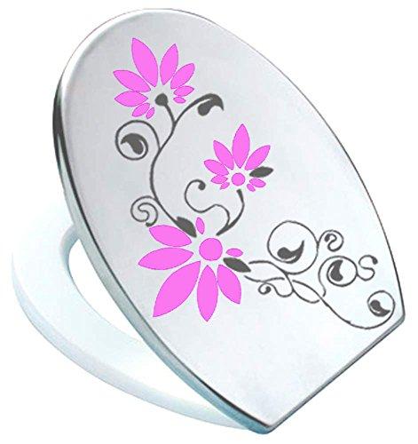 Stickers WC toiletten deksel St02 voor Pressalit antraciet/roze vinyl