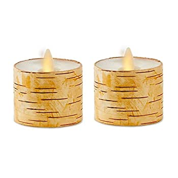 Lumminara 2-Pack LED Tealight  2x2  Moving Flame Birch Tealight Flameless Candle with Recessed Edge Real Birch Unscented - Ivory