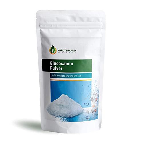Kräuterland - Glucosamin Pulver 500g - hochrein und hochdosiert - Premium Glucosaminsulfat - deutsche Pharmaqualität