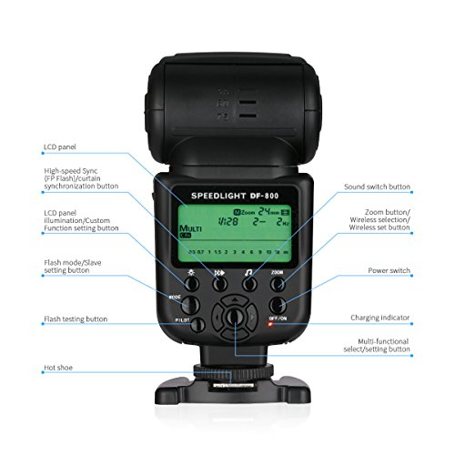 Powerextra DF-801 GN60 HSS 1/8000s E-TTL/E-TTL II Master Slave Speedlite Flash for Canon EOS Rebel T3i T2i 70D 80D 7D 7D Mark II 5D Mark II III IV and Others Canon DSLR with Single-Contact Hotshoe