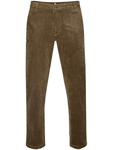 PAPADAY Herren Stretch Cordhose, Flatfronthose aus Baumwoll-Feincord-Braun-62