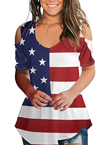 Women American Flag T-Shirt 4Th of July Patriotic Top V Neck Blouse Summer M