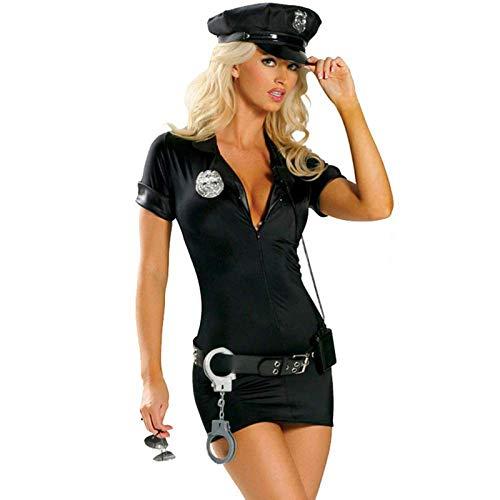 Amaeen Traje para Mujer Disfraz Sexy Adulto policía Uniforme elástico Traje de Cosplay Falda Ajustada de Cuero Artificial