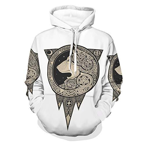 Zaclay Sudadera unisex Viking Wolf estilo boyfriend – cómoda chaqueta de entrenamiento, color blanco, 3XL