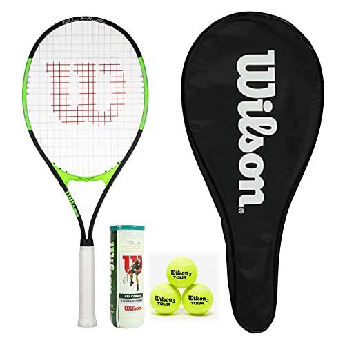 Wilson Blade Excel 112 - Raqueta de tenis con funda de longitud completa y 3 pelotas de tenis Wilson Tour
