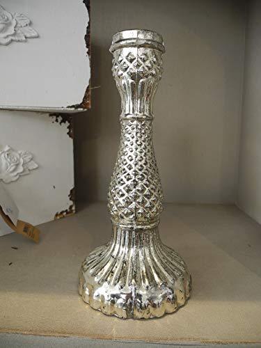item 023 Kerzenständer Silber Bauernsilber Glas Shabby French chic Kerzenhalter Landhaus Nostalgie