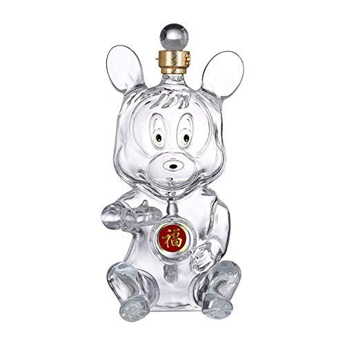 Rabbfay Decantador de whisky, decantador de whisky de cristal, pequeño decantador de licor con tapón para licor whisky escocés Bourbon o vino, A