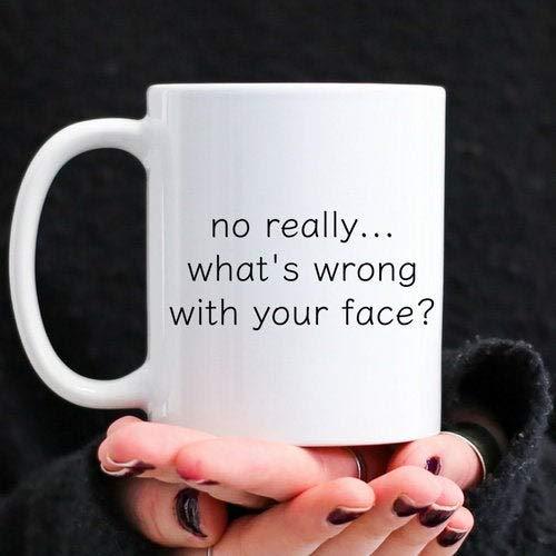 DKISEE beste vriend koffie mok, grappig cadeau voor Bestie, grappige citaat mok, wat is er mis met je gezicht, koffie mok thee beker, ideale mok geschenken 15 oz Kleur: wit