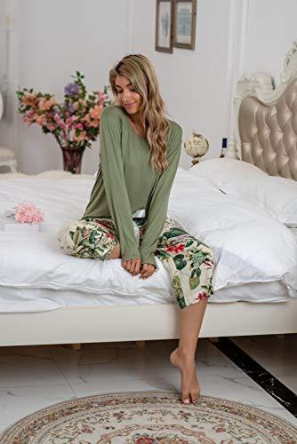 Damen Zweiteil Schlafanzüge,Winter Modal Rundhalsgrün Nachtwäsche-Sets Monstera Print Elegant Damen Warme Loungewear Strickpyjamas Sets Damen, 4XL