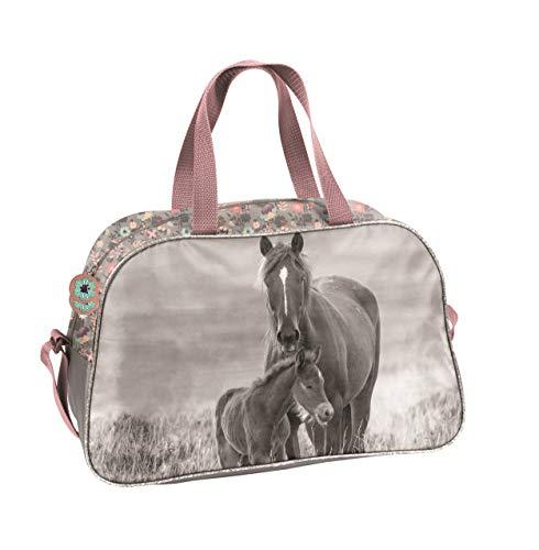 Ragusa-Trade Mädchen Kinder Sporttasche Reisetasche mit tollem Pferde Motiv (KO20) für Mädchen, Rose/grau, 40 x 25 x 13 cm