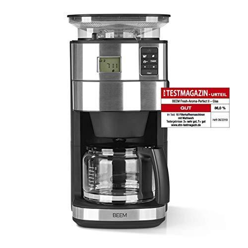 BEEM FRESH-AROMA-PERFECT II Filterkaffeemaschine mit Mahlwerk - Glas | Edelstahl | 1,25 l Glaskanne | 24-Stunden-Timer | 1000 W | Präzisions-Kegelmahlwerk | Warmhalteplatte