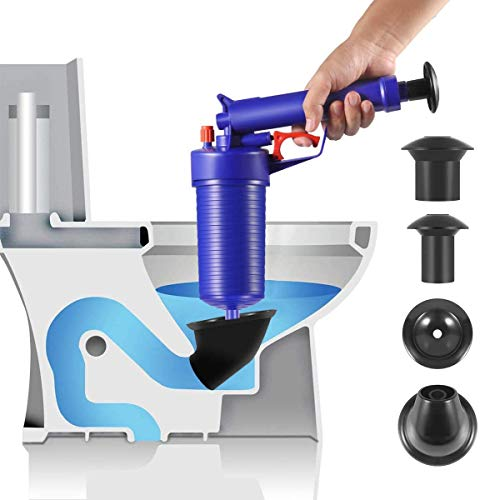 Toilet Plunger, Upgrade Air Drain Blaster, 2021 New High Pressure Pump,Drain Clog Remover Tool with 4 X Suckers for Bath/Toilet/Sink/Floor Drain/Kitchen Clogged Pipe