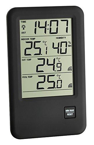 TFA Dostmann 30.3053 Malibu Thermomètre-hygromètre sans fil pour piscine schwarz mit Batterien